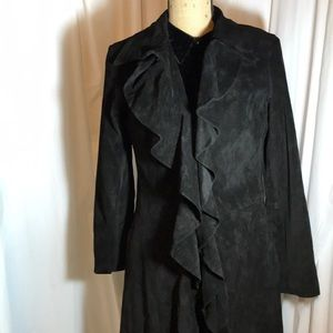 Margaret Godfrey Black Ruffle Suede Leather Coat